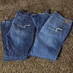 2 pairs American Eagle artist jeans